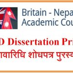 Call for submissions for the 'BNAC PhD Dissertation Prize 2021